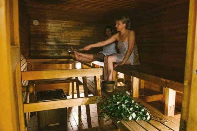 Women enjoying a sauna