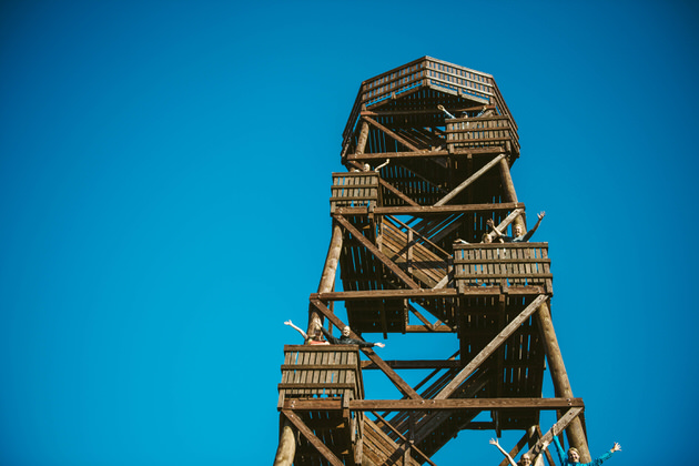 The observation tower against a blue sky