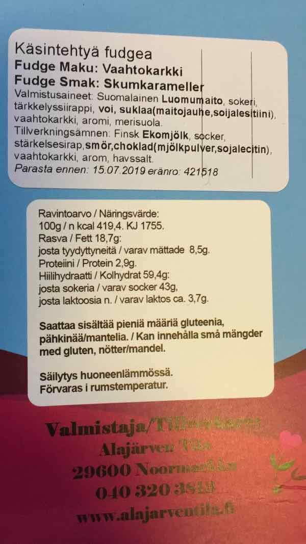 Vaahtokarkki-tuoteseloste